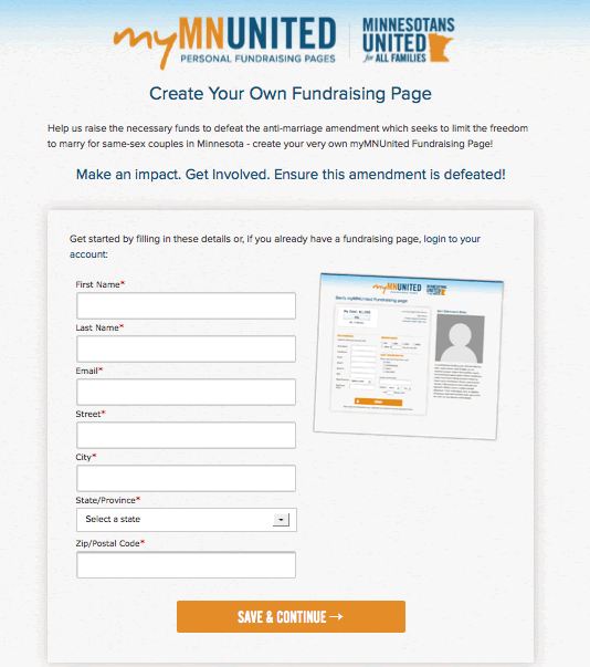 Peer to Peer fundraising signup page