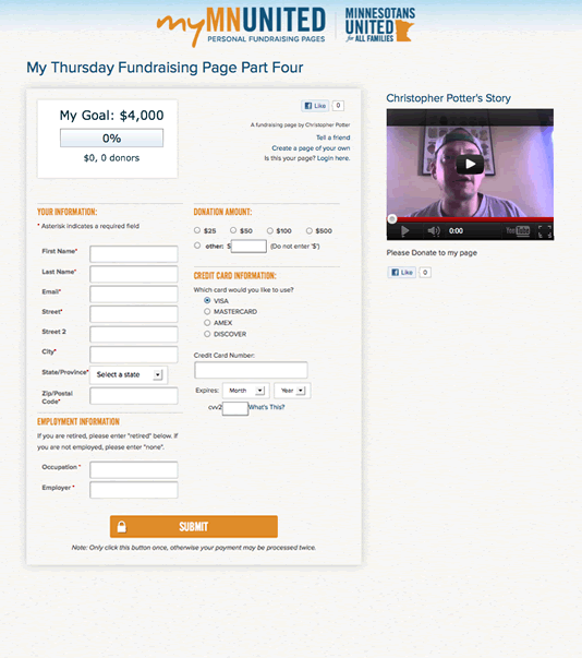 Personalized donation page